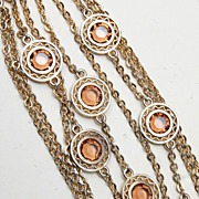 Chain and Bezel Set Light Brown Crystal Bracelet