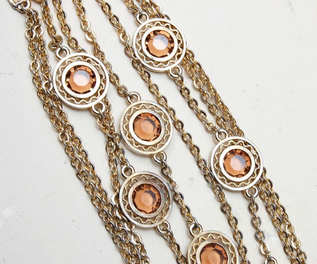 Chain and Bezel Set Light Brown Crystal Bracelet