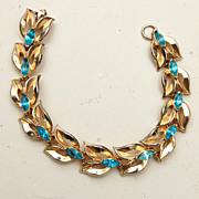 Coro Signed Aqua Rhinestone Bracelet