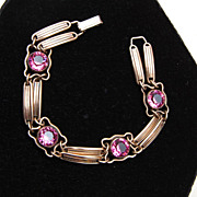 Sterling and Gold Filled Pink Bezel Set Crystal Bracelet