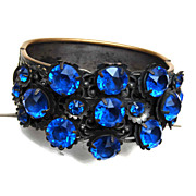 Blue Stone Czech Chased Hinged Bracelet