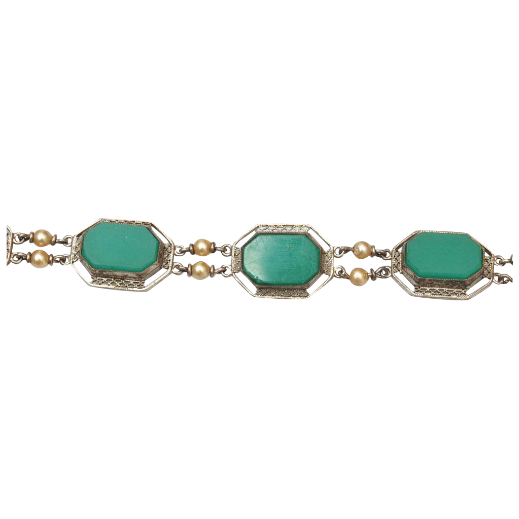 Sterling Filigree and Chrysoprase Bracelet - Stunning!