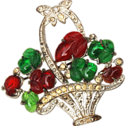 Pot Metal and Fruit Salad Flower Basket Brooch