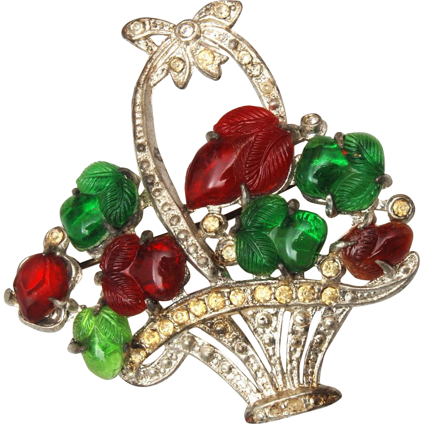 Fruit Flower Baskets Saskatoon : Pot metal and fruit salad flower basket brooch from