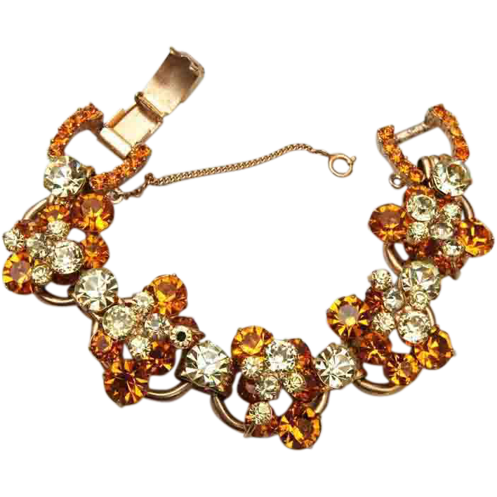 A Juliana Delizza Elster D&E Classic 5 Link Yellow and Topaz Rhinestone Bracelet