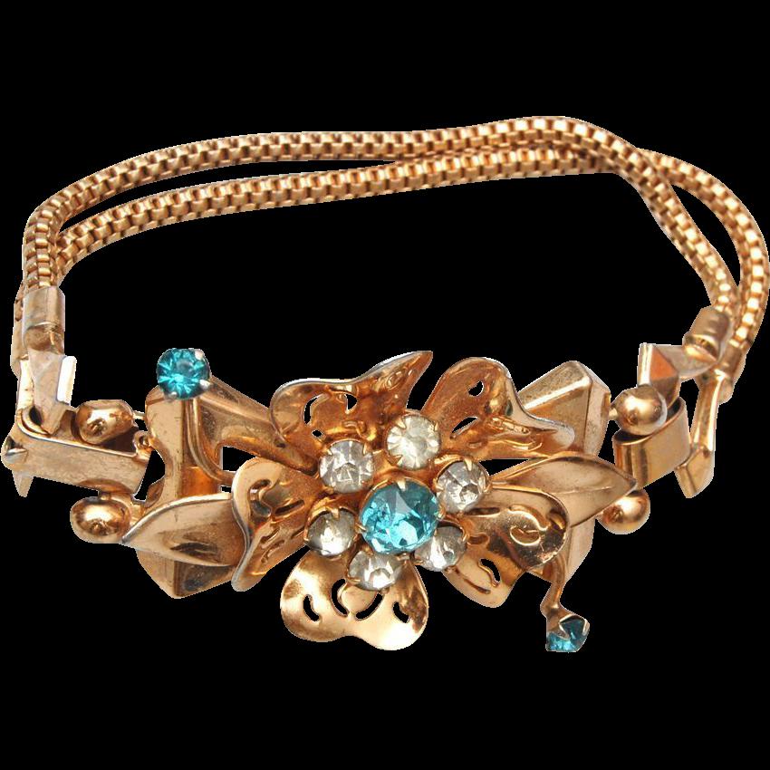 coro with pegasus aqua rhinestone bracelet from