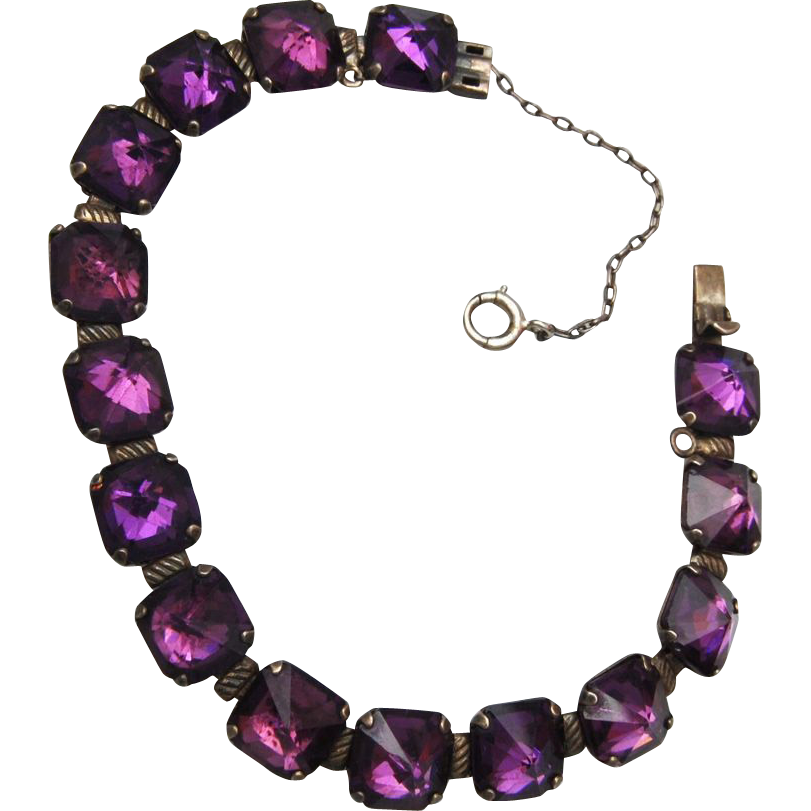 Sterling Leach & Miller Sterling and Purple Stone Bracelet