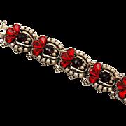 Red and Rose Cut Garnet Colored Rhinestone Bracelet