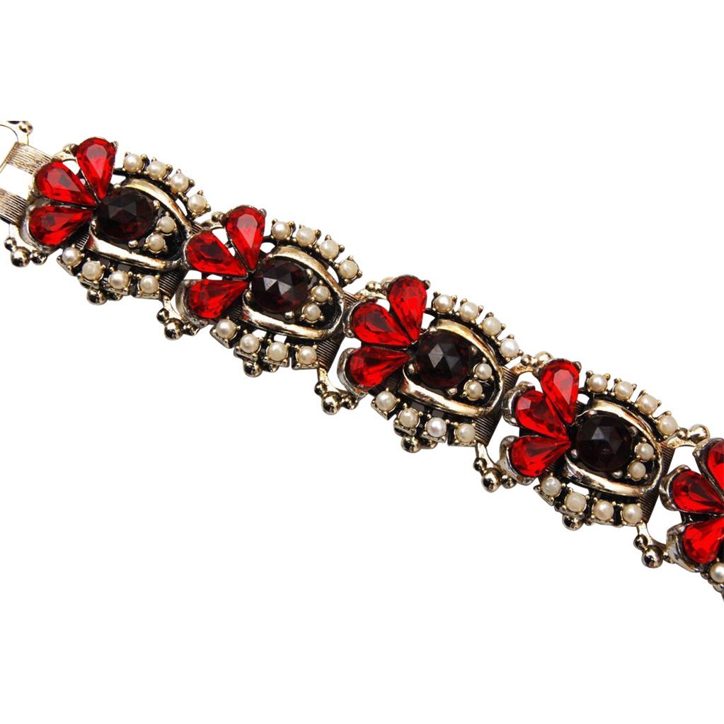 Red and Rose Cut Garnet Colored Rhinestone Bracelet