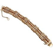 Hobe' Brown and Clear Rhinestone Bracelet