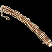 Hobe' Brown and Clear Rhinestone Bracelet