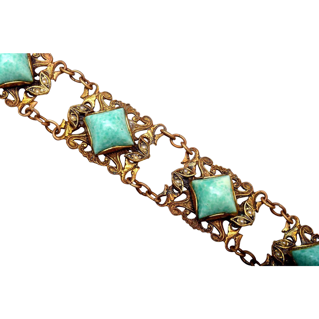 Peking Glass and Seed Pearl Bracelet