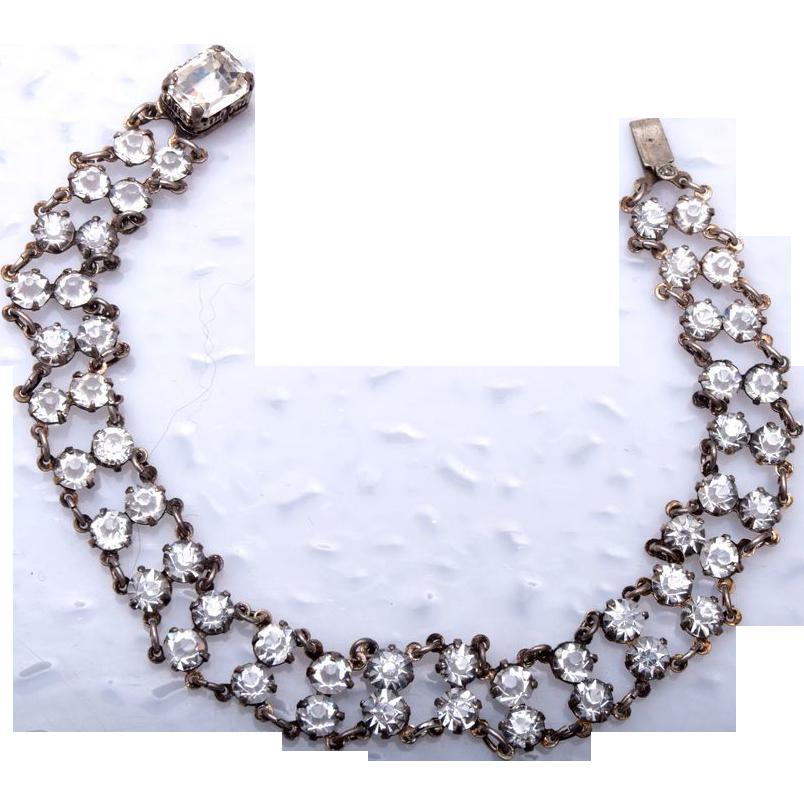 Sterling and Bezel Set Crystal Bracelet - Beautiful!