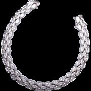 Sterling and Open Backed CZ Rhinestone Bracelet
