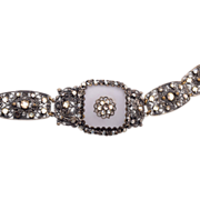 Camphor Glass Bracelet - Silver Filigree and Rhinestones