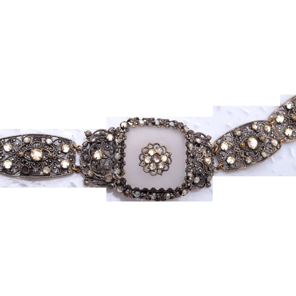 Camphor Glass Bracelet - Silver Filigree and Rhinestones