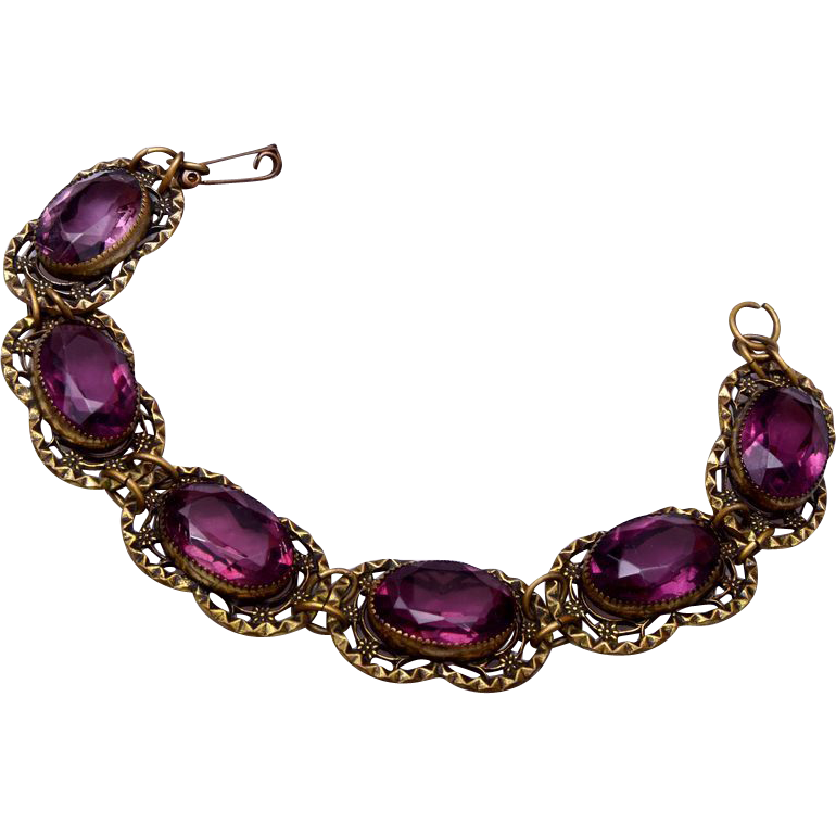 Purple Unfoiled Stone Bracelet