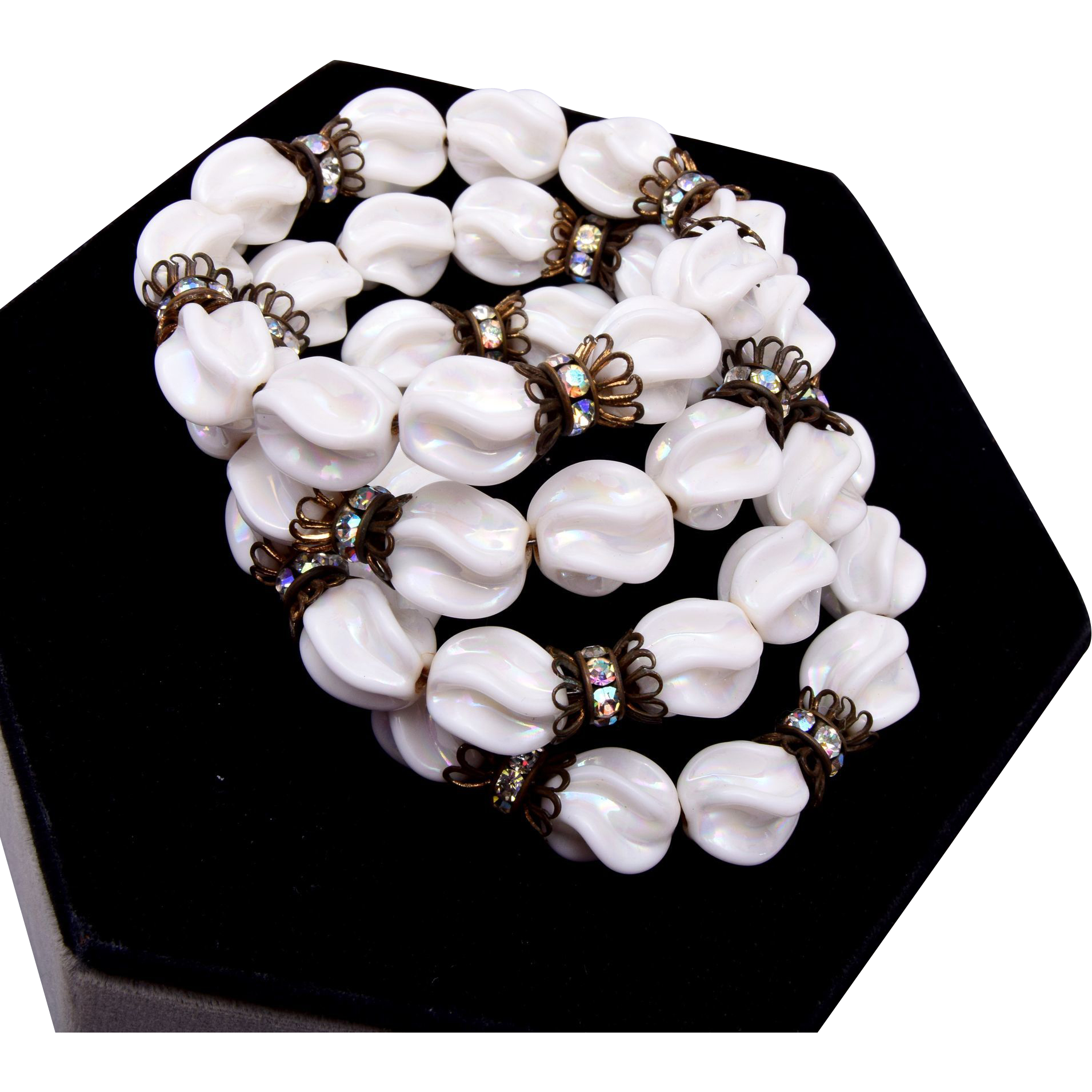 White Glass and Rhinestone Memory Wire Bracelet