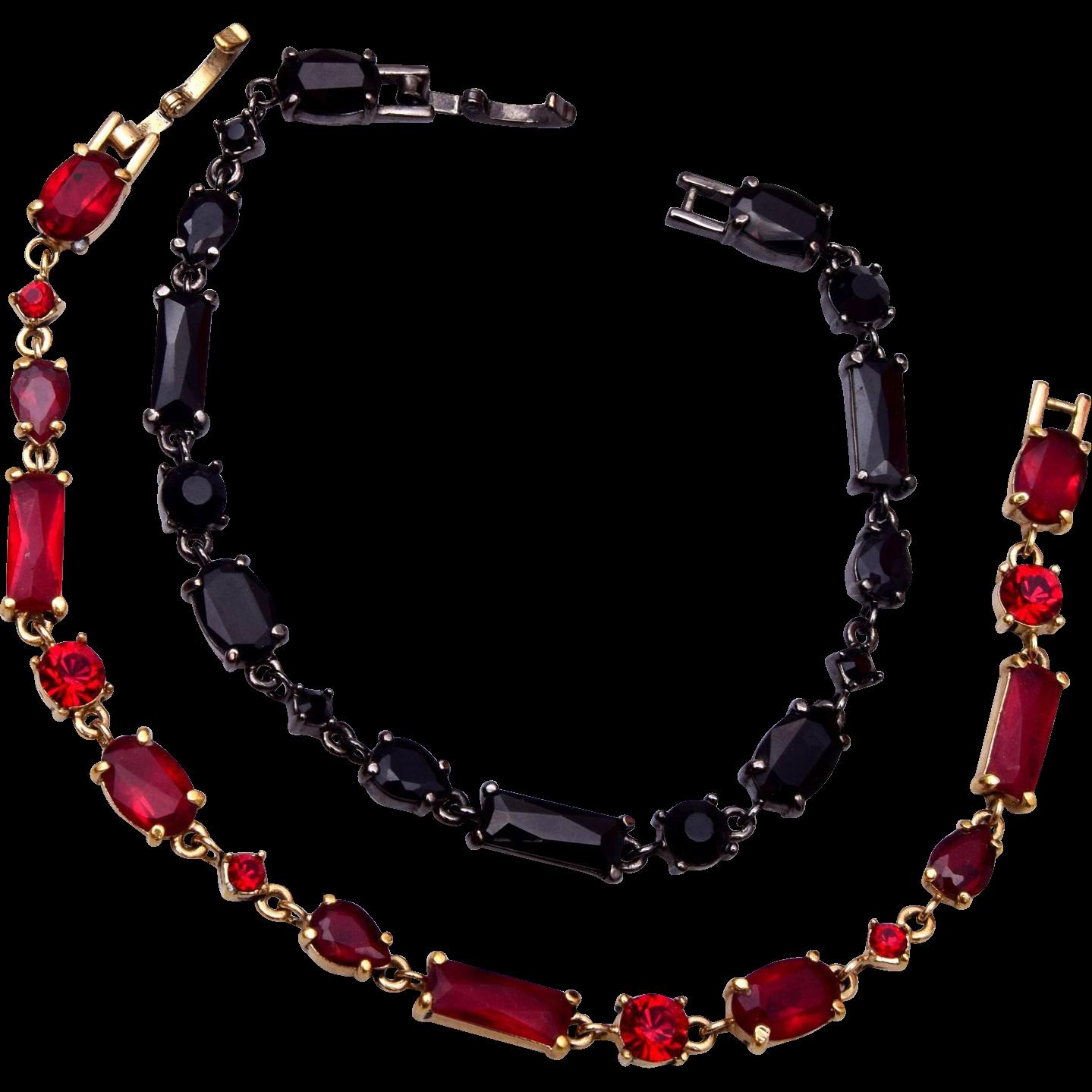 Liz Claiborne Bracelet Pair - Red and Black