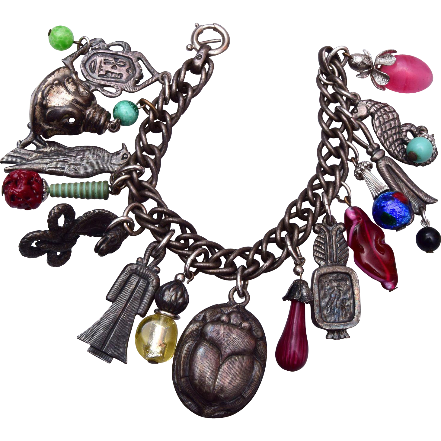 Napier Egyptian Silver Tone and Glass Charm Bracelet
