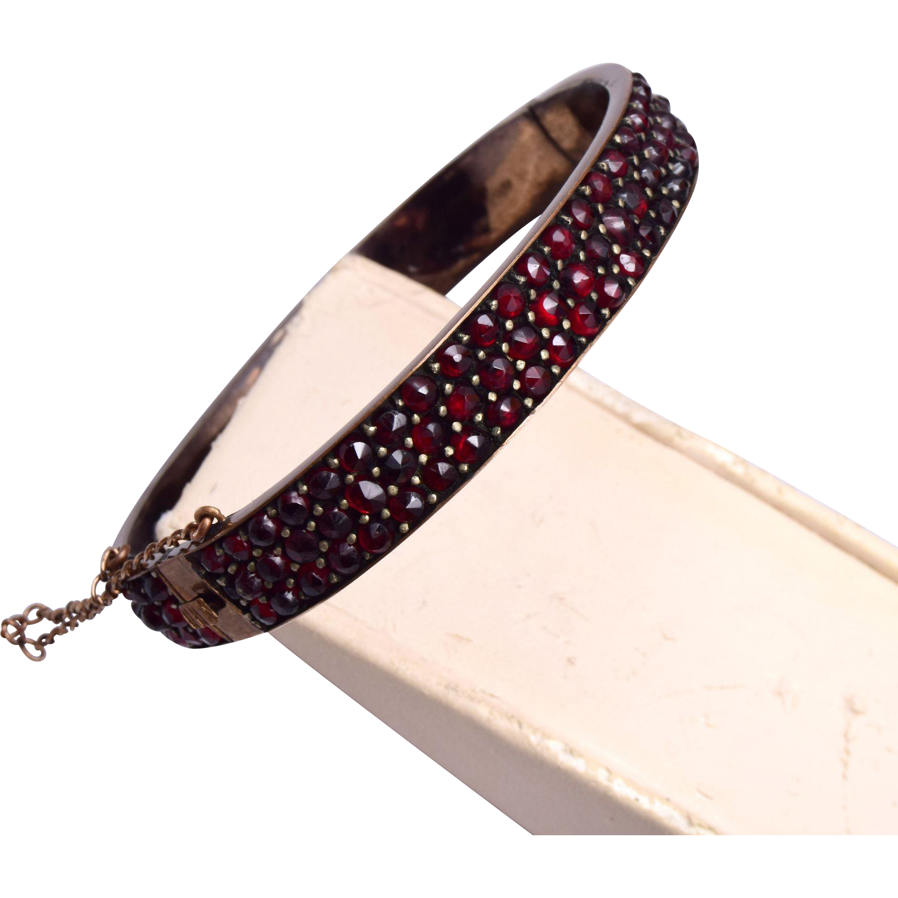 Victorian 3 Row Bohemian Garnet Hinged Bangle Bracelet