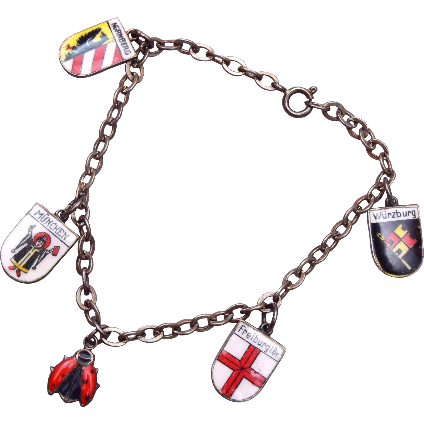 800 Silver and Enameled German Shield Charm Bracelet