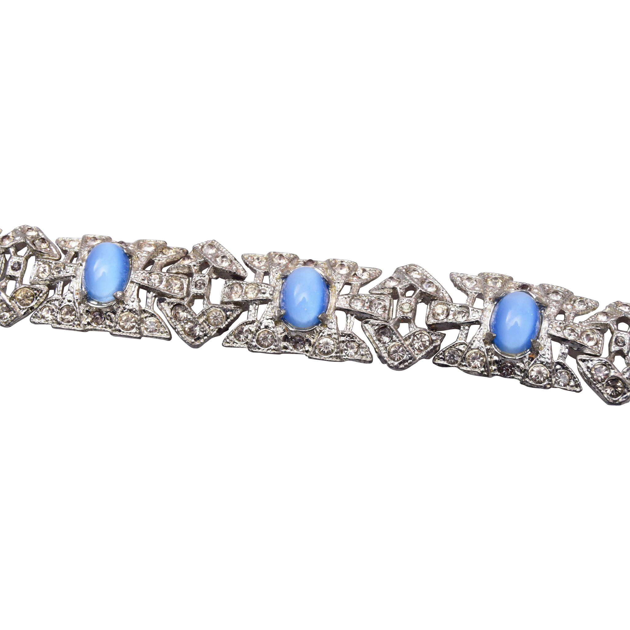 Pot Metal and Rhinestone with Blue Cats Eye Cabochons Bracelet