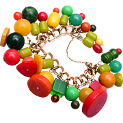 Colorful Bakelite Beaded Krementz Charm Bracelet