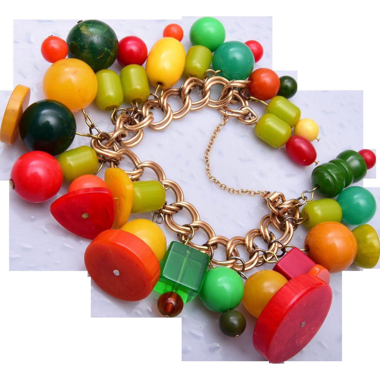 Colorful Bakelite Beaded Krementz Charm Bracelet