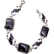Black and White Enamel and Onyx Bracelet