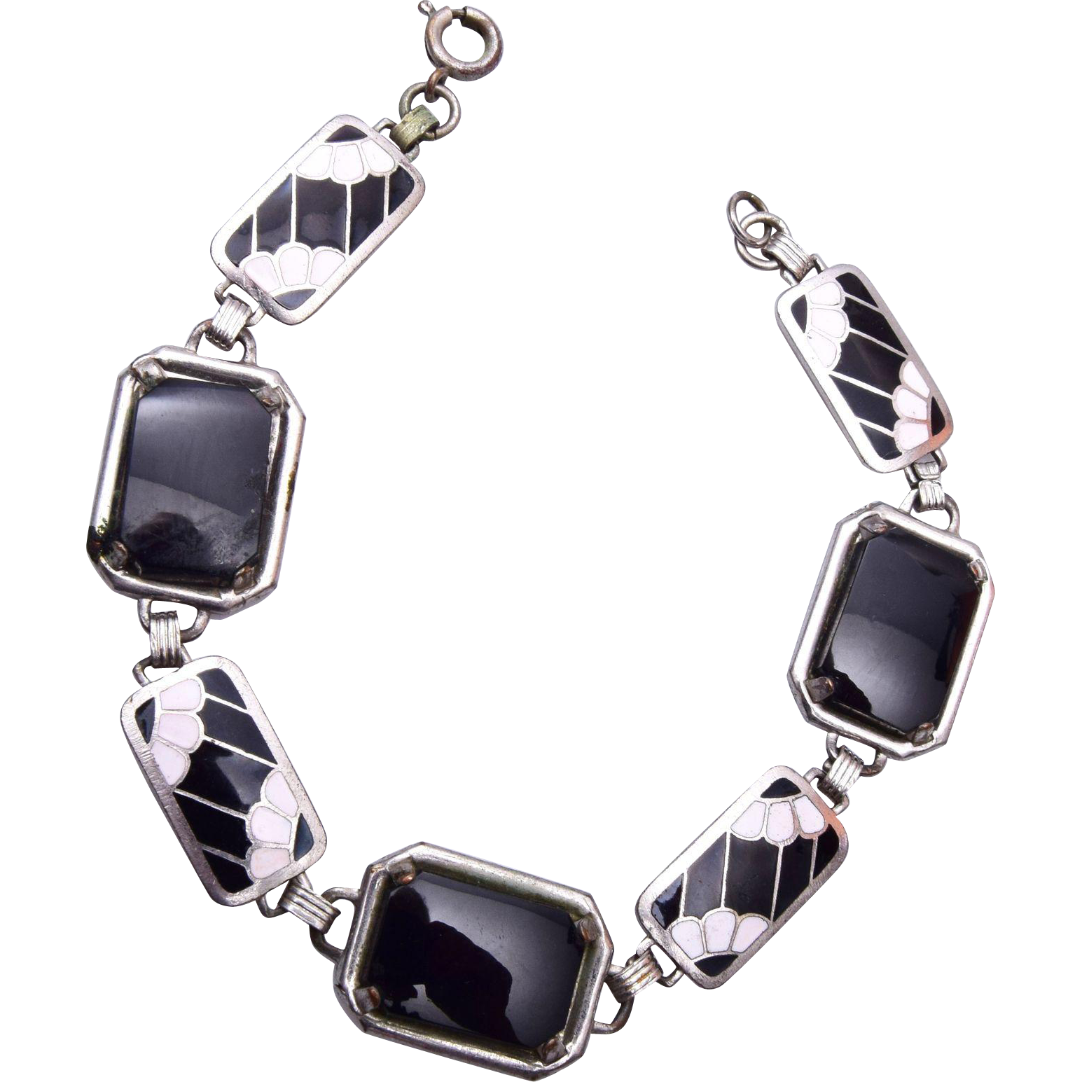 Black and White Enamel and Onyx Bracelet