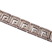 Art Deco Greek Key Designed Rhinestone Bracelet