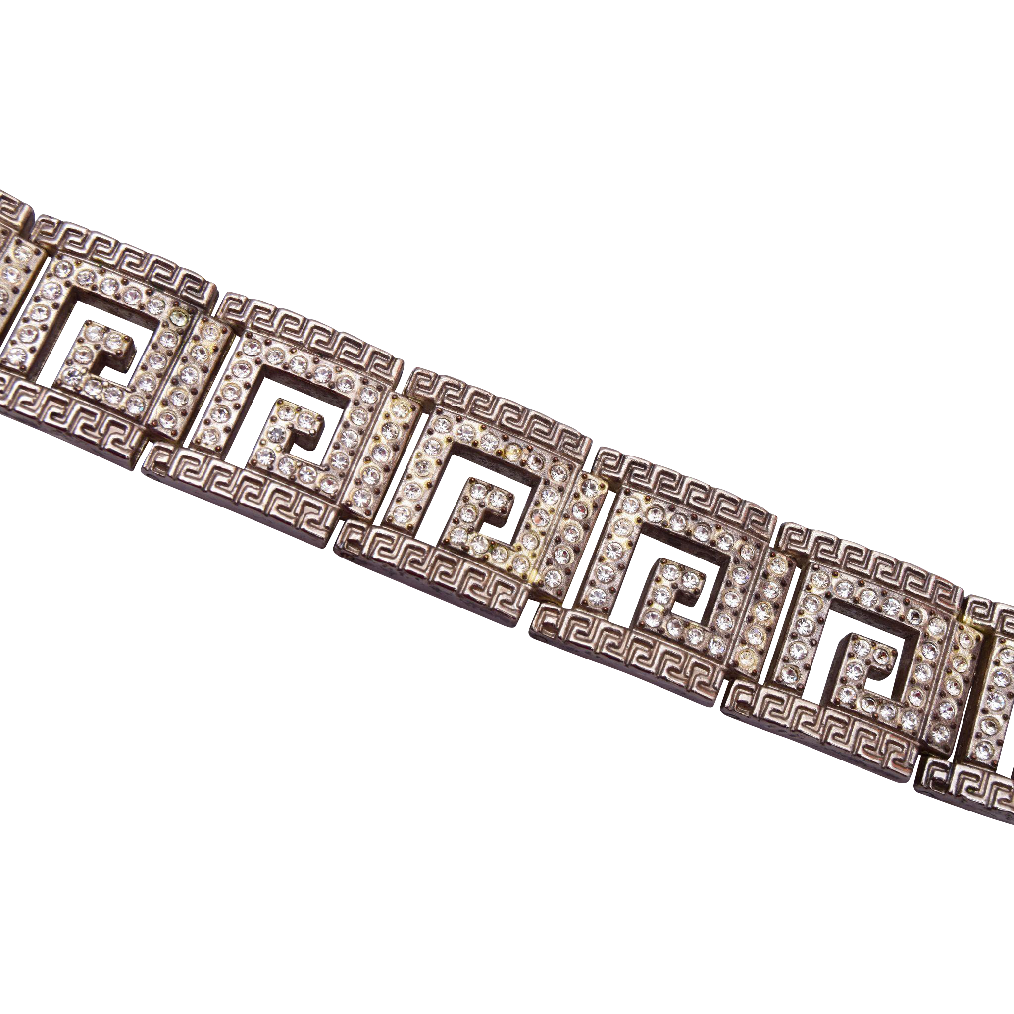 Art Deco Greek Key Rhinestone Bracelet