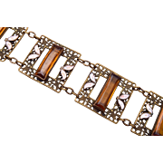 Brass and Topaz Crystal and Enamel Bracelet