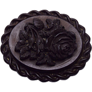 Gutta Percha Carved Rose Brooch