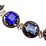 Mexico Silver Bracelet with Colored Glass Stones