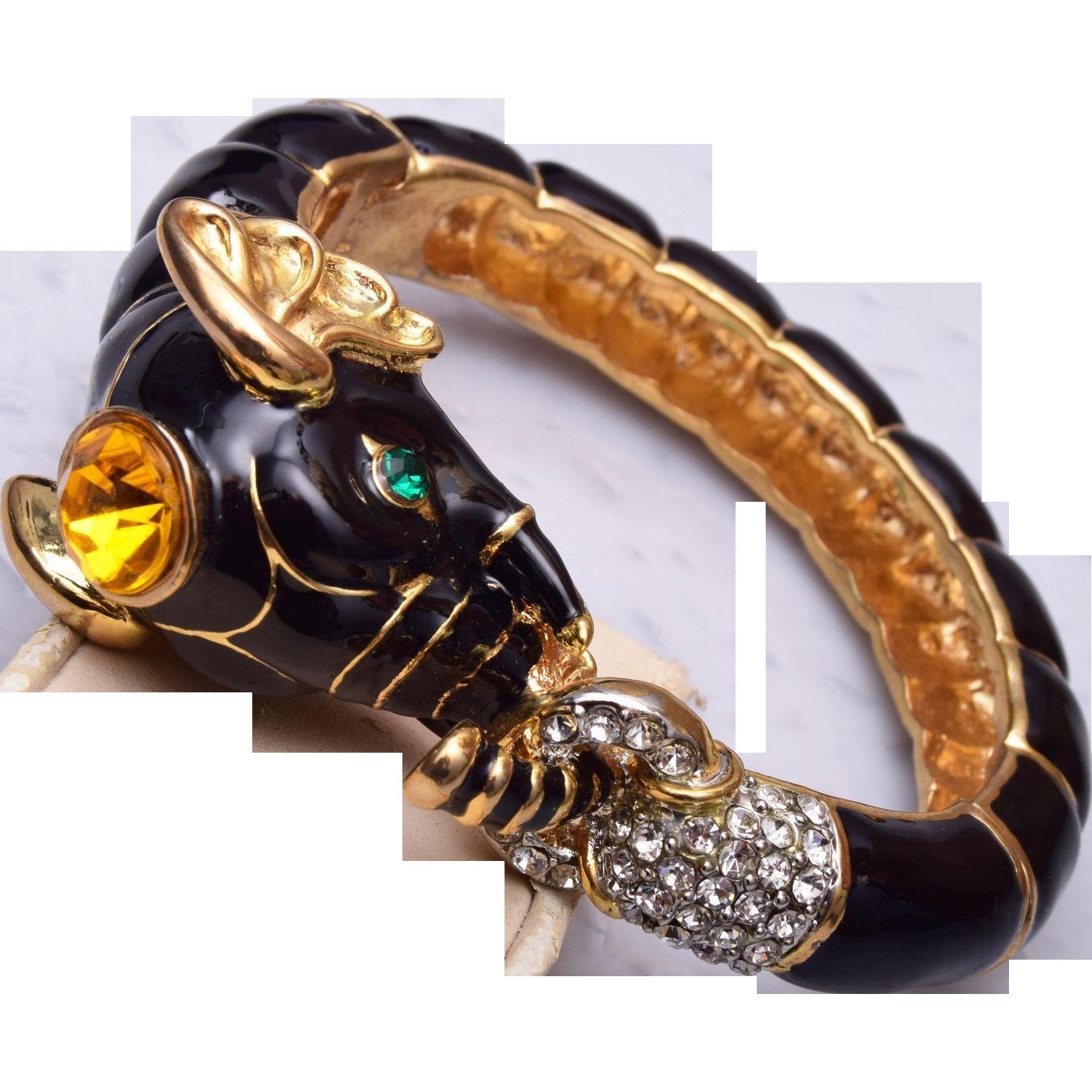Enameled Elephant Hinged Bracelet