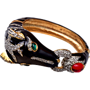 Hinged Enameled Horse Head Bracelet