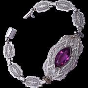 PS Co.  Purple Pierced Metal Bracelet