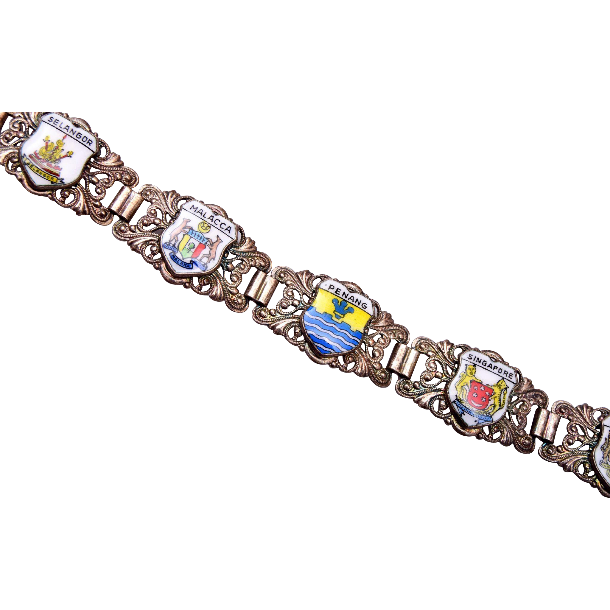 Malaysia and Singapore Enameled Travel Bracelet