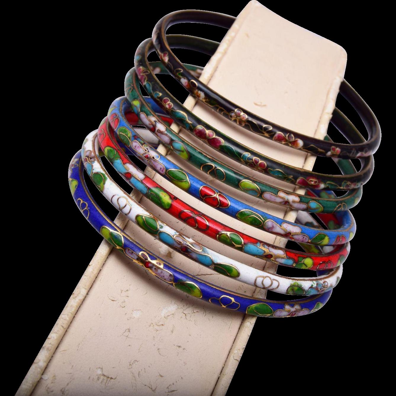 7 Cloisonne Colorful Bangle Bracelets