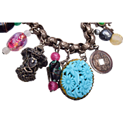 Art Glass and Molded Glass Oriental Charm Bracelet