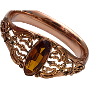 1908 Bigney Gold Filled Hinged Bangle Bracelet with Stone
