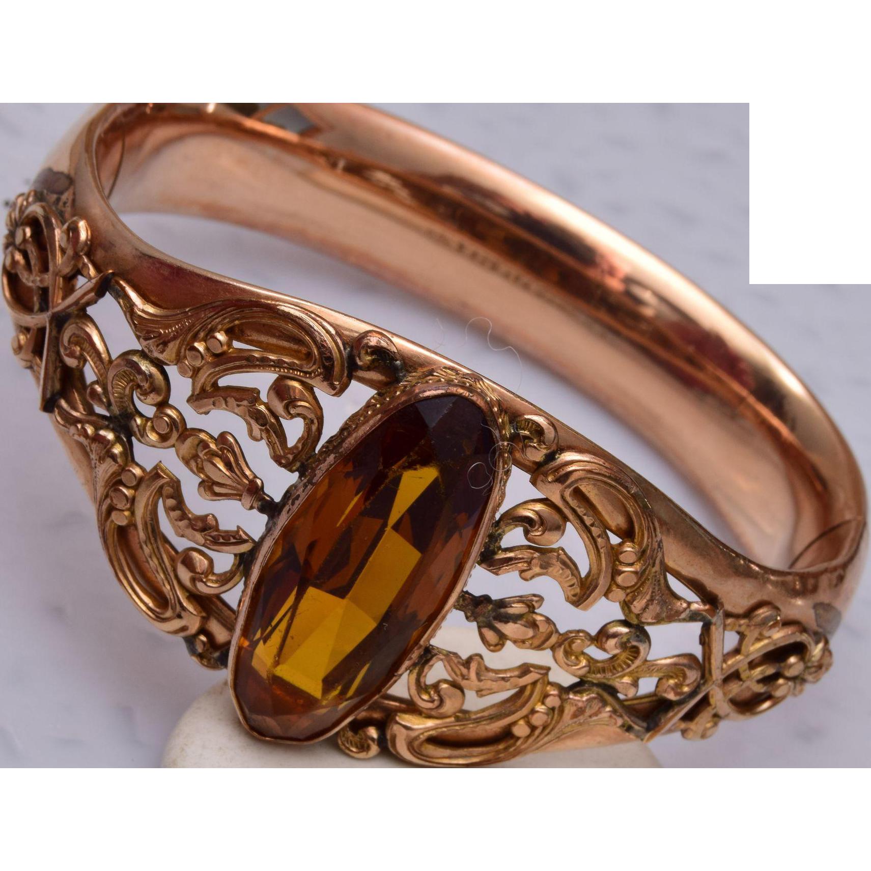 1908 Bigney Gold Filled Hinged Bangle Bracelet with Stone