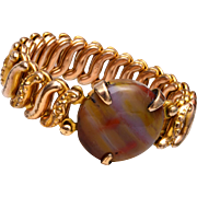 Gold Filled Expansion Bracelet With Agate Stone
