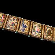 Hand Painted Bone Picture Panel Bracelet