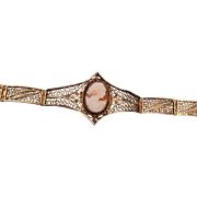 800 Silver Filigree and Shell Cameo Bracelet