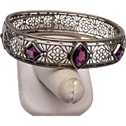 1930's Filigree and Purple Stone Hinged Bangle Bracelet
