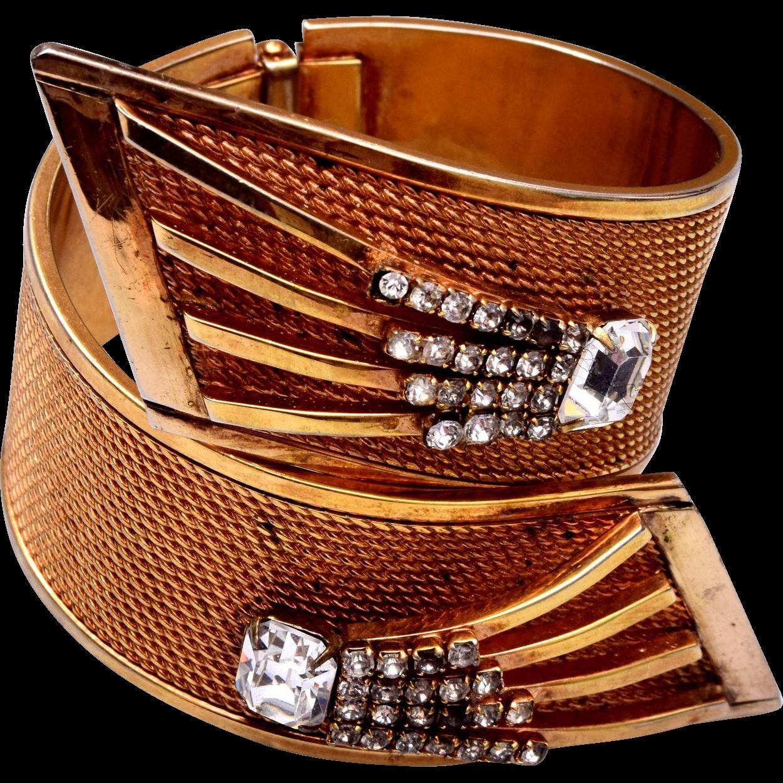 Vargas Rhinestone Large Hinged Bypass Bracelet
