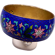 "Old 1"" Wide Cloisonné  Blue Enameled Bracelet"